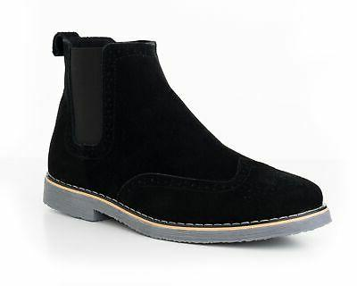 mens chelsea boots genuine suede dress ankle