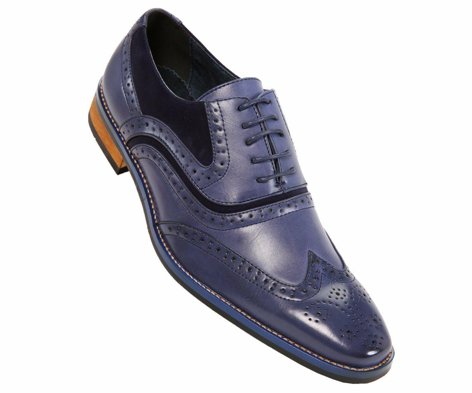 Amali Mens Classic Blue Smooth + Microfiber Wingtip Oxford D