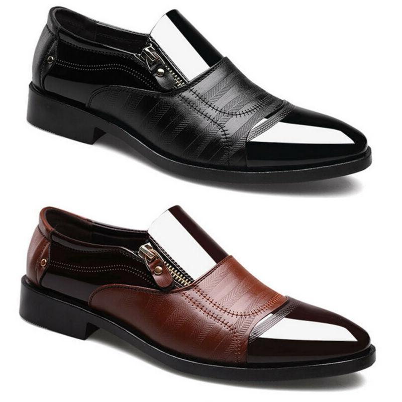 Slip On Oxfords Mens Dress Tuxedo Formal Shoes Brogue Pointe