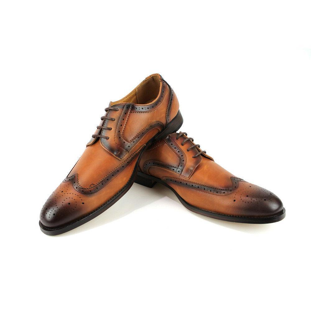 mens dress shoes cognac brown wing tip