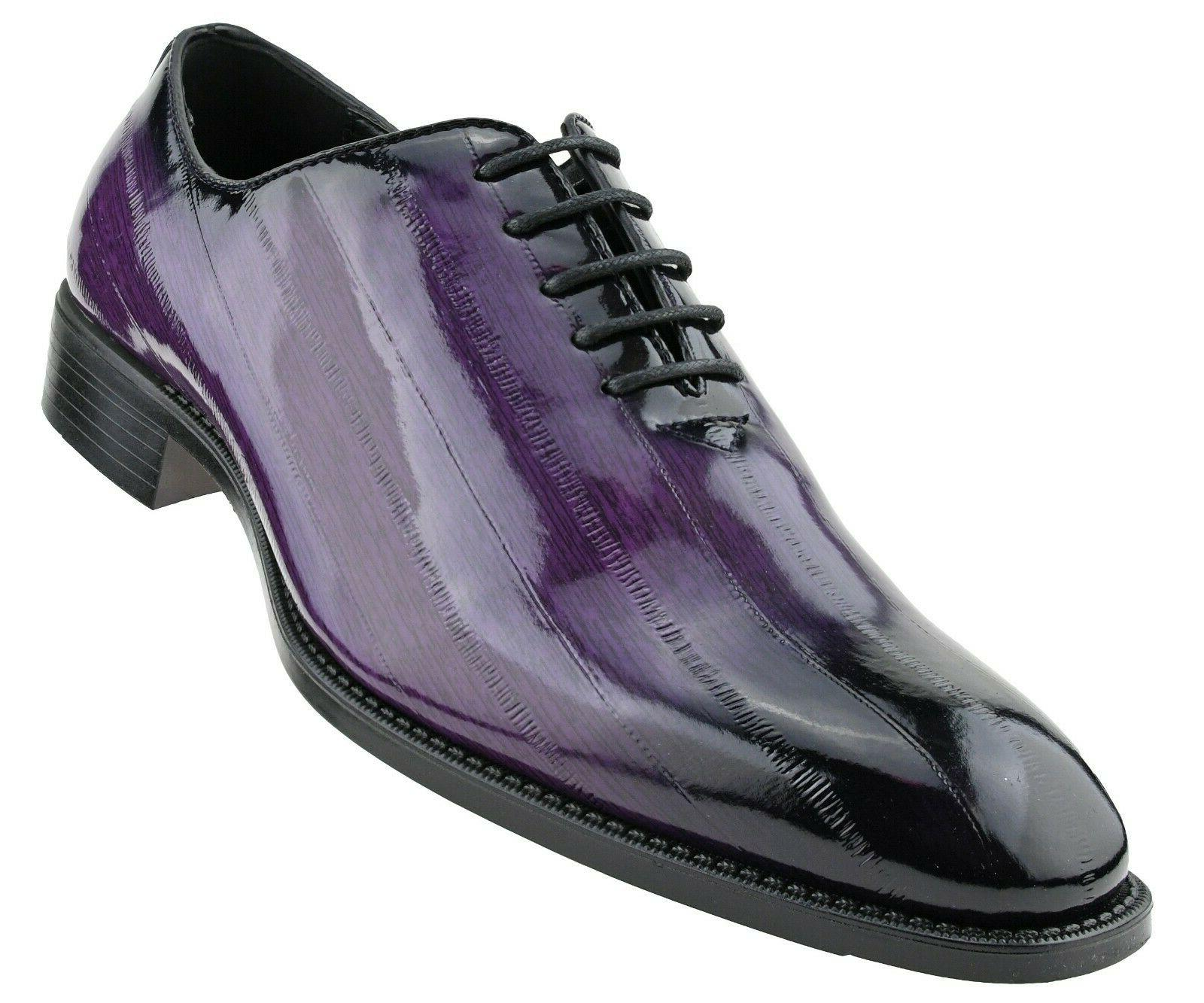 Bolano Mens Exotic Faux Eel Print Oxford Dress Shoe in Purpl