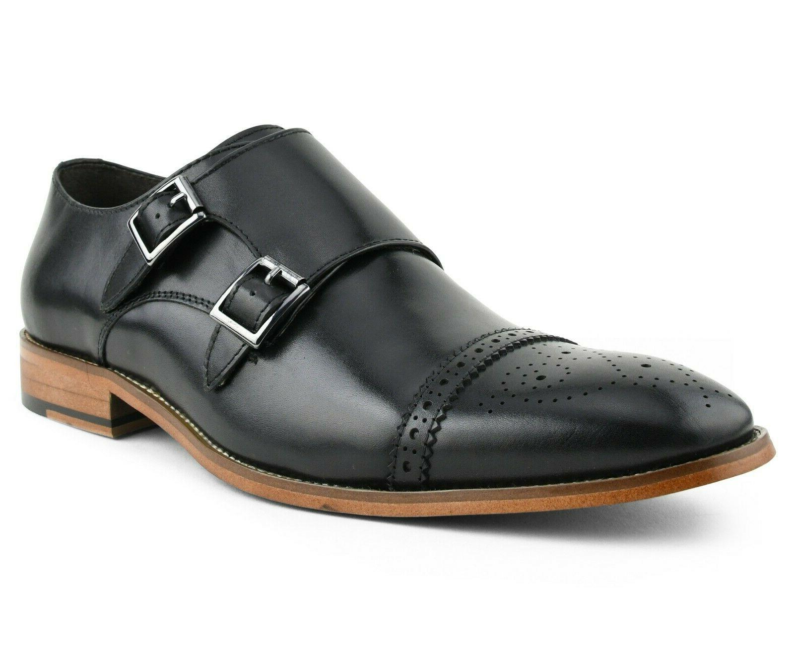 Asher Green Mens Genuine Calf Leather Double Monk Strap Dres