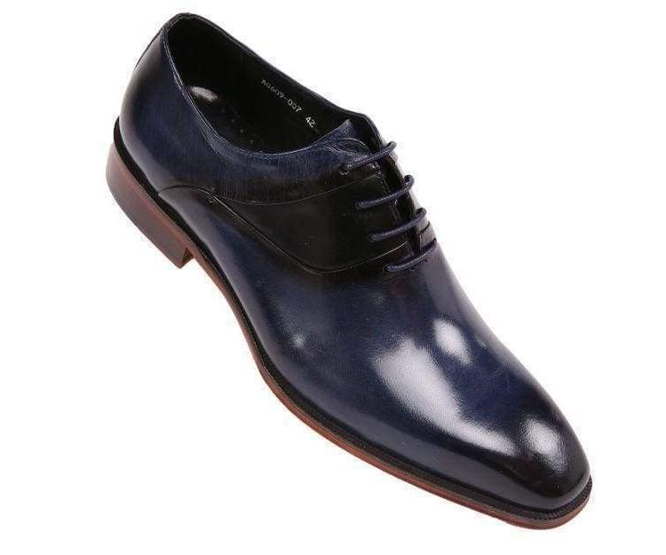mens genuine leather cap toe lace up