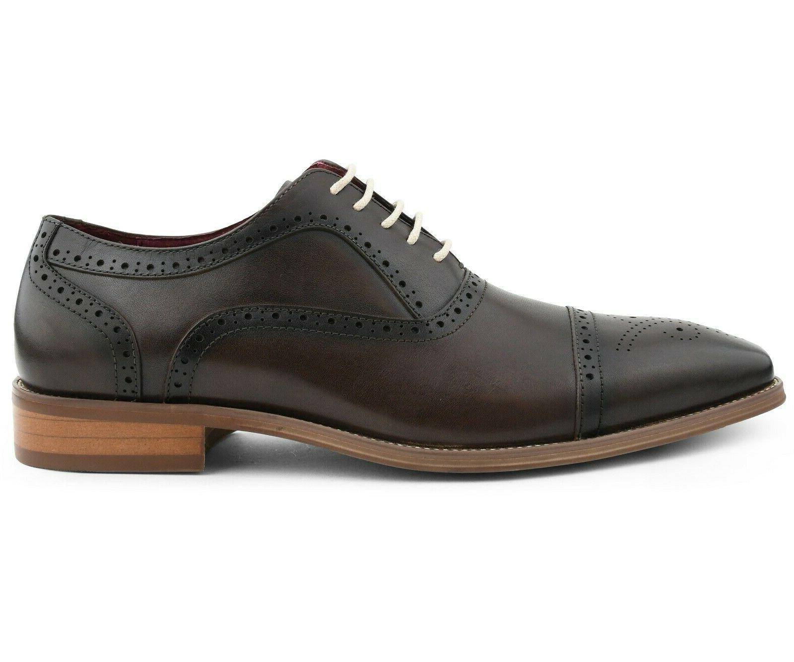 Men's Dress Shoes - Genuine Leather Cap Oxfords, Up Dress Shoes