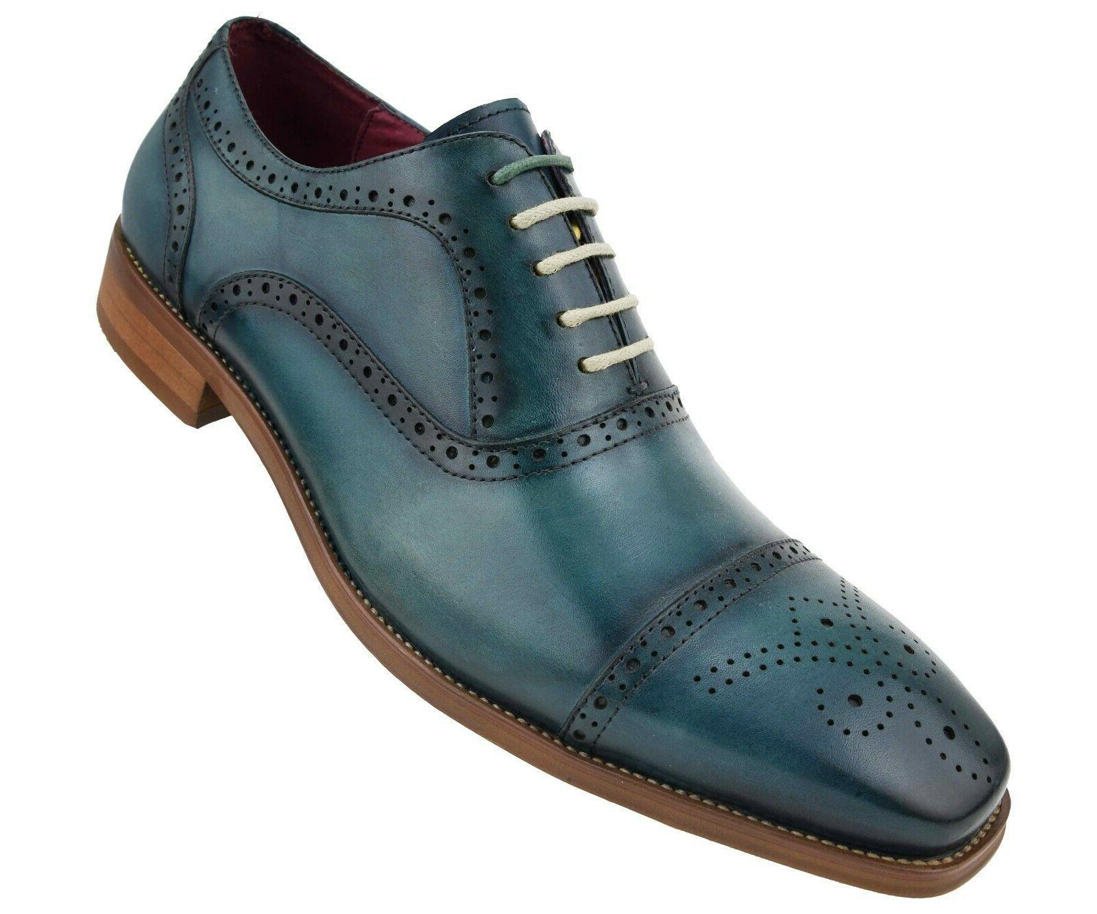 Men's Dress Shoes Genuine Leather Cap Oxfords, Lace Dress Shoes