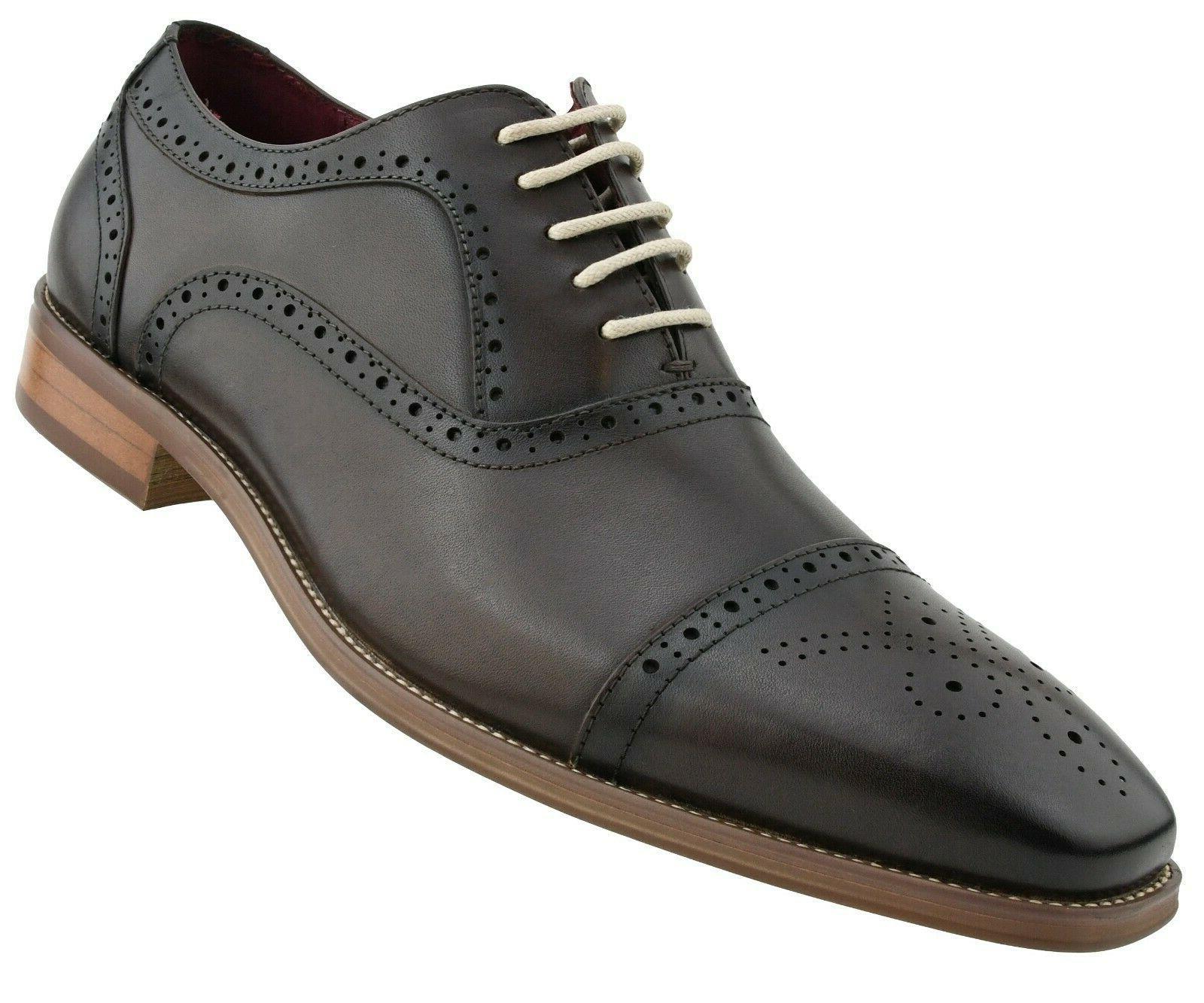 Men's Shoes Genuine Cap Oxfords, Lace Up Mens Dress Shoes