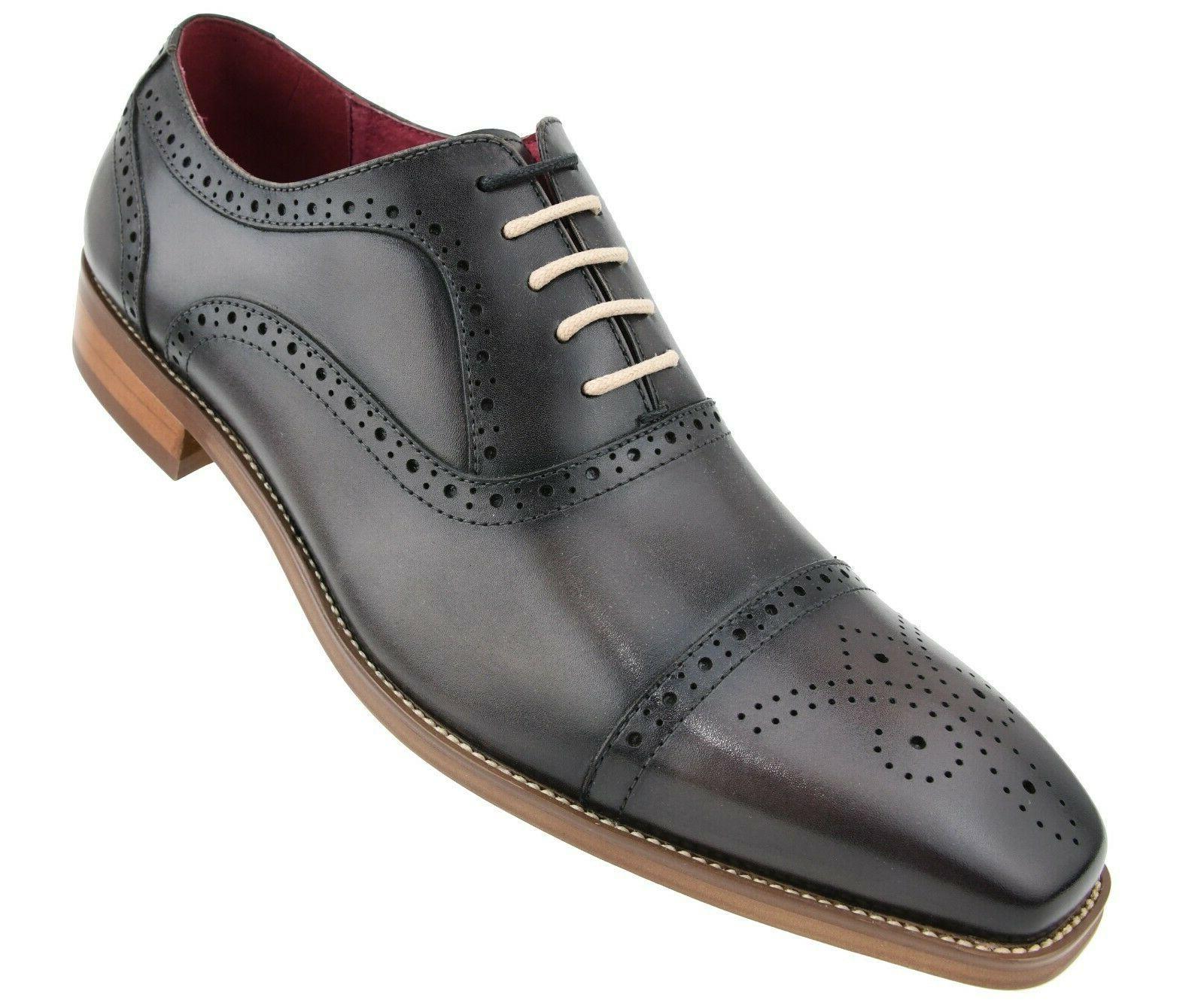 men s dress shoes genuine leather cap