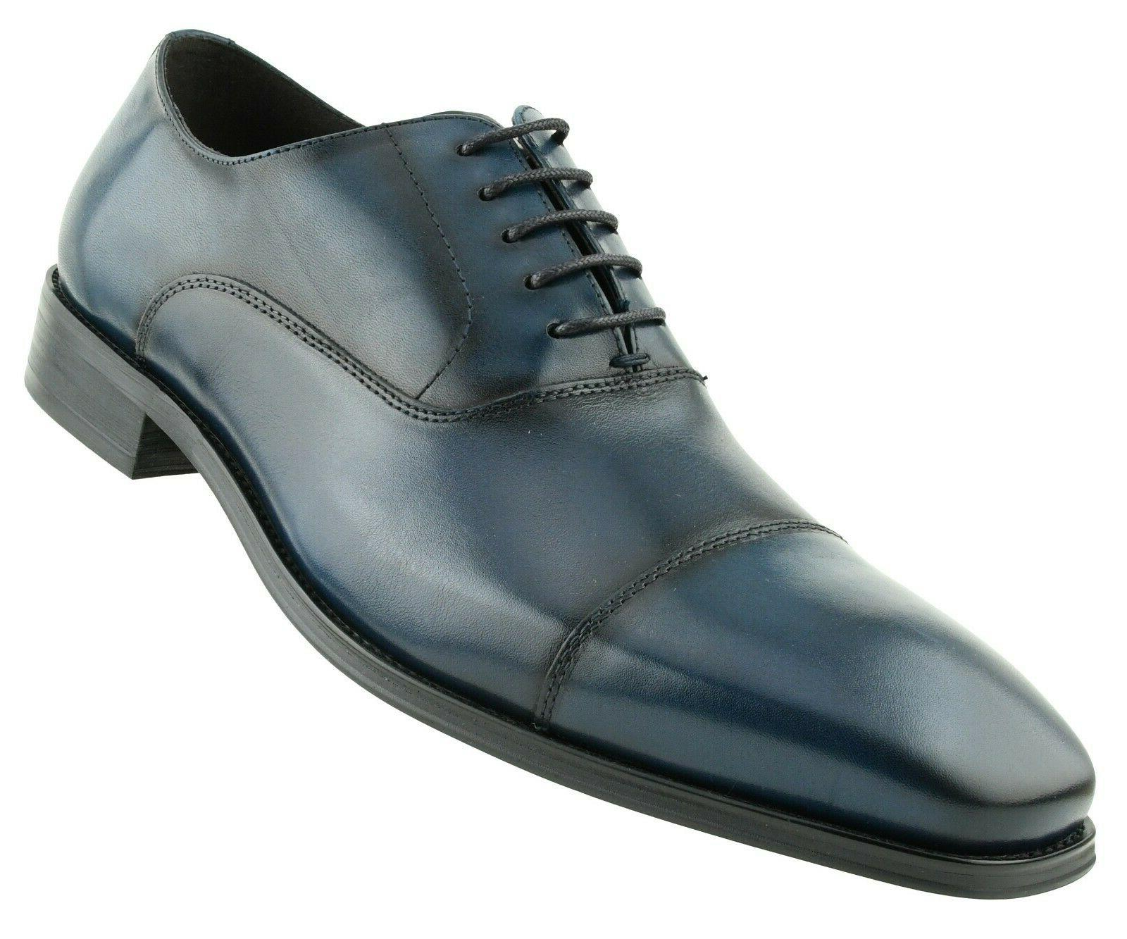 mens genuine leather smooth cap toe lace