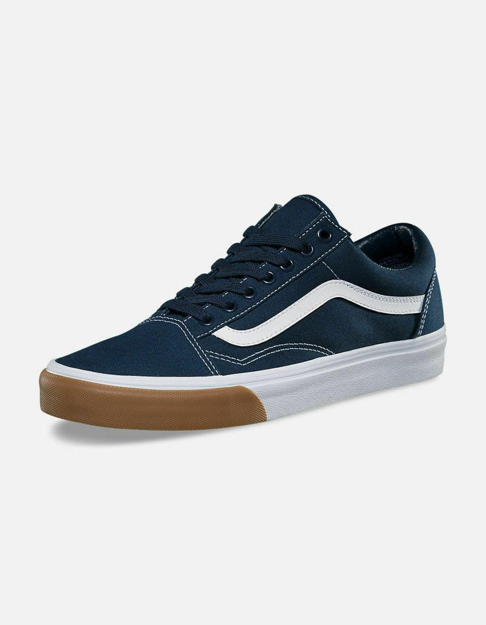 Mens Old Skool Skate Shoes Bumper Dress Blues Navy White