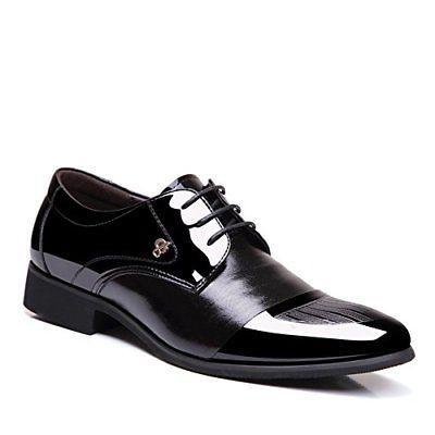 OUOUVALLEY Mens Patent Leather Tuxedo Dress Shoes Lace up Po