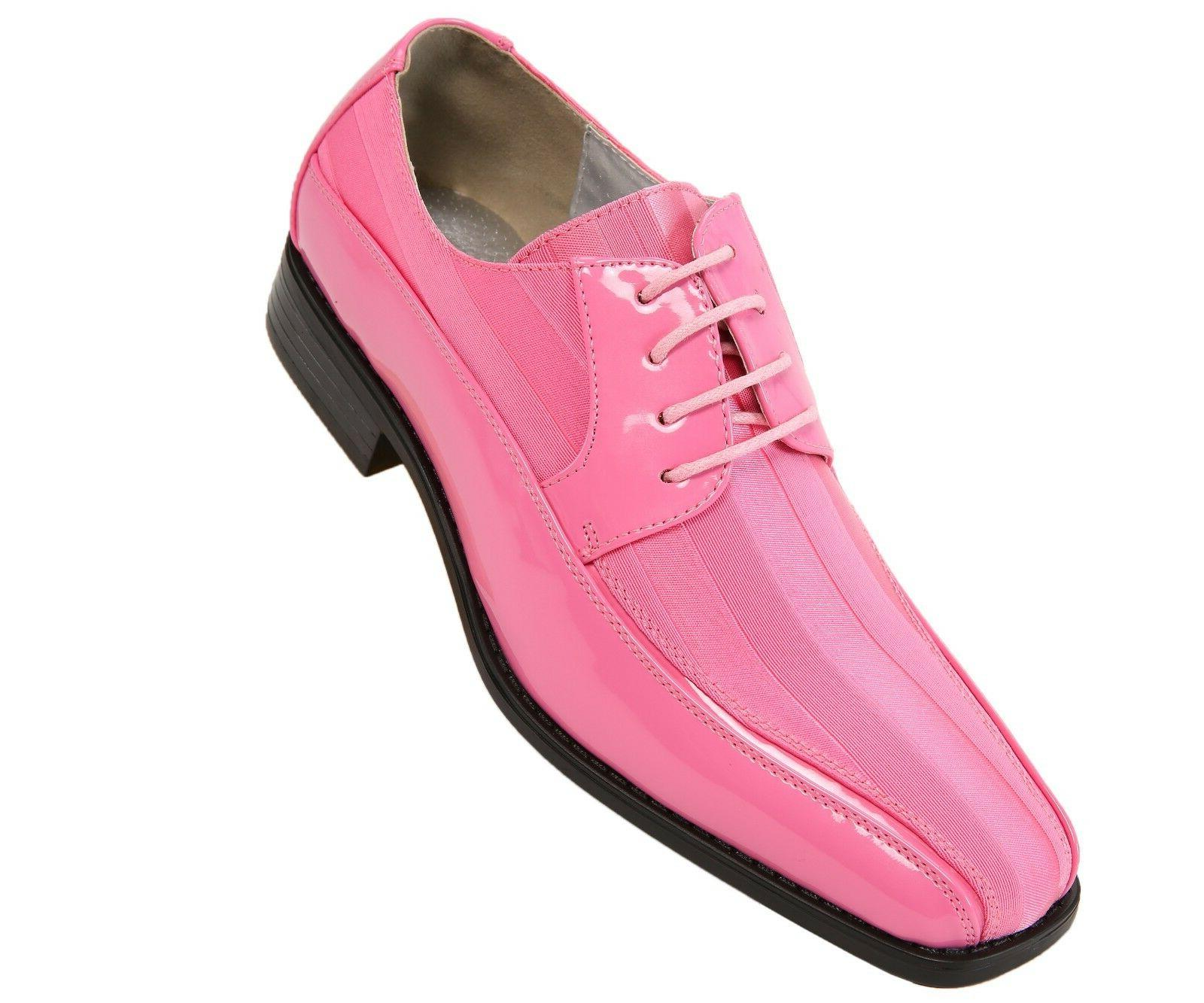 mens pink patent dress oxford w striped