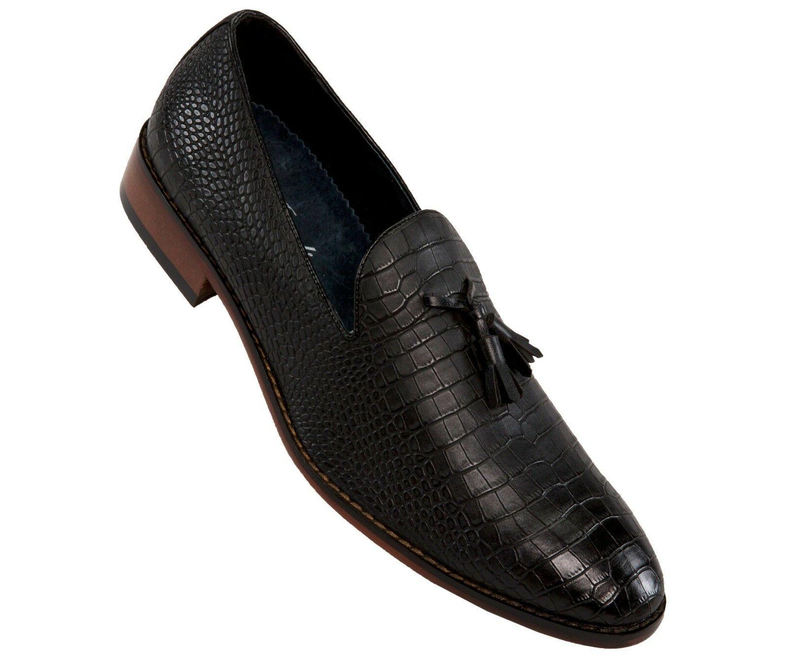 Amali Mens Two-Tone Cheetah Print Patent Slip On Dress Shoes