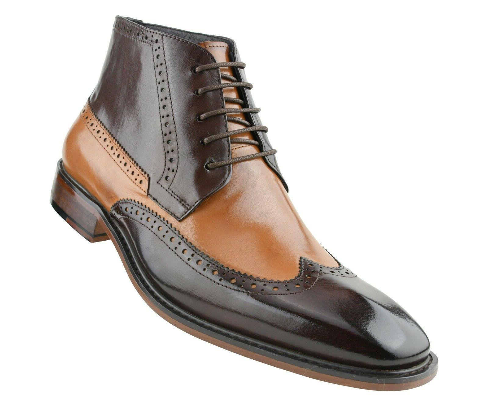 mens two tone genuine calf leather wingtip