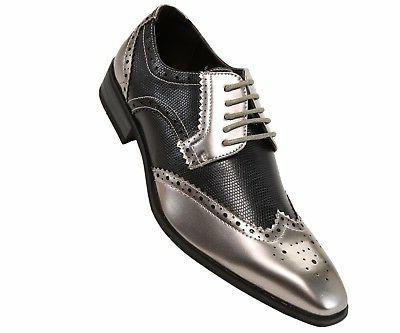 Amali Mens Two-Toned Black & Metallic Silver Dress Shoe with