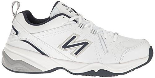 New Balance Training Shoe, White/Navy, 4E US