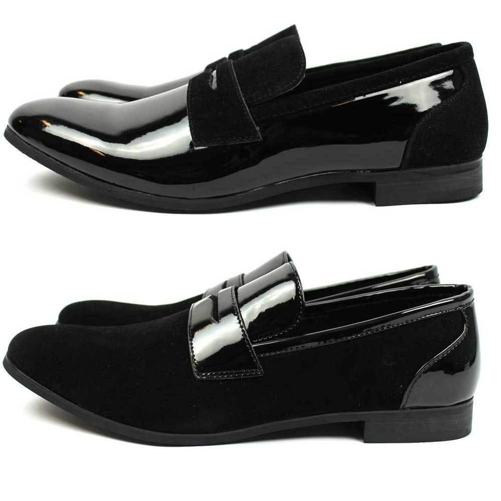 new men black tuxedo shoes slip on