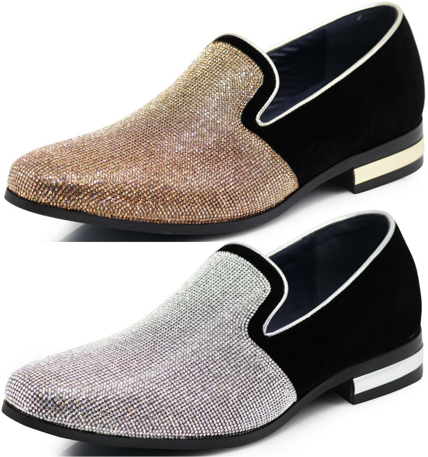 new men dress shoes rhinestone diamond loafers