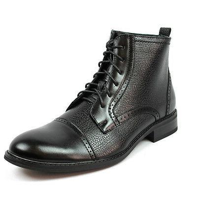 New Men's Black Brown Ferro High Boots Cap Toe Leather