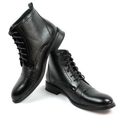 New Black Brown Ferro High Boots Toe Leather Lining