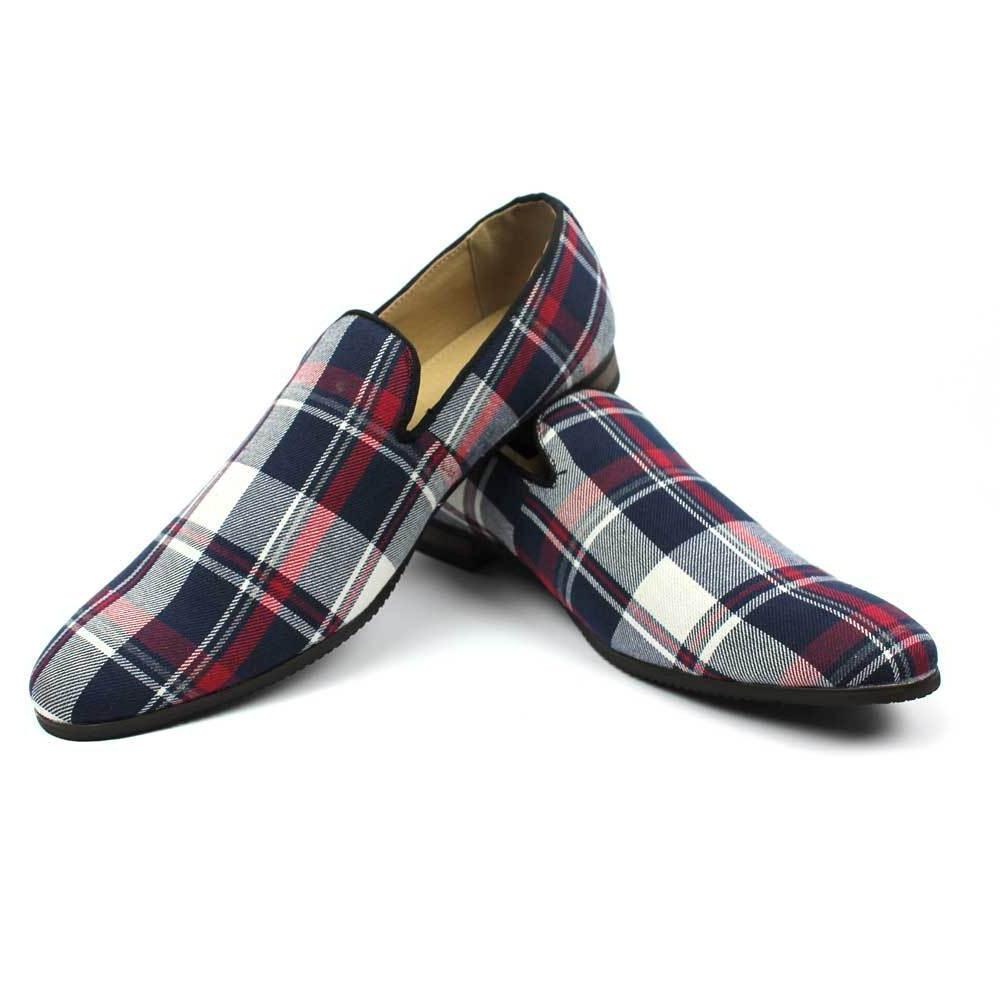 New Men's Blue Plaid Checkered Slip on Loafers Modern Dress