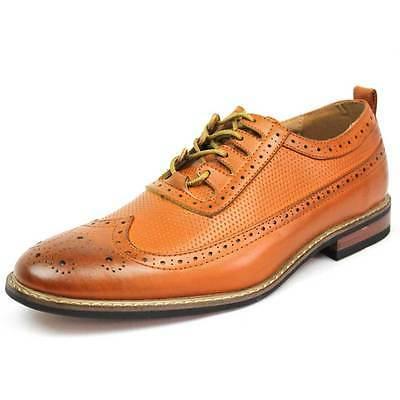New Men's Shoes Brown/cognac Wing Tip Block Hill Lace OXFORDS Parrazo