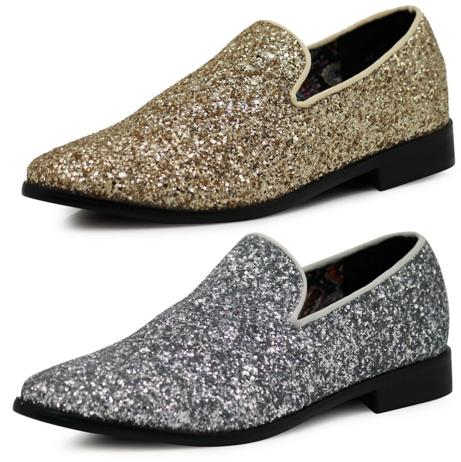new men vintage glitter stage dress shoes