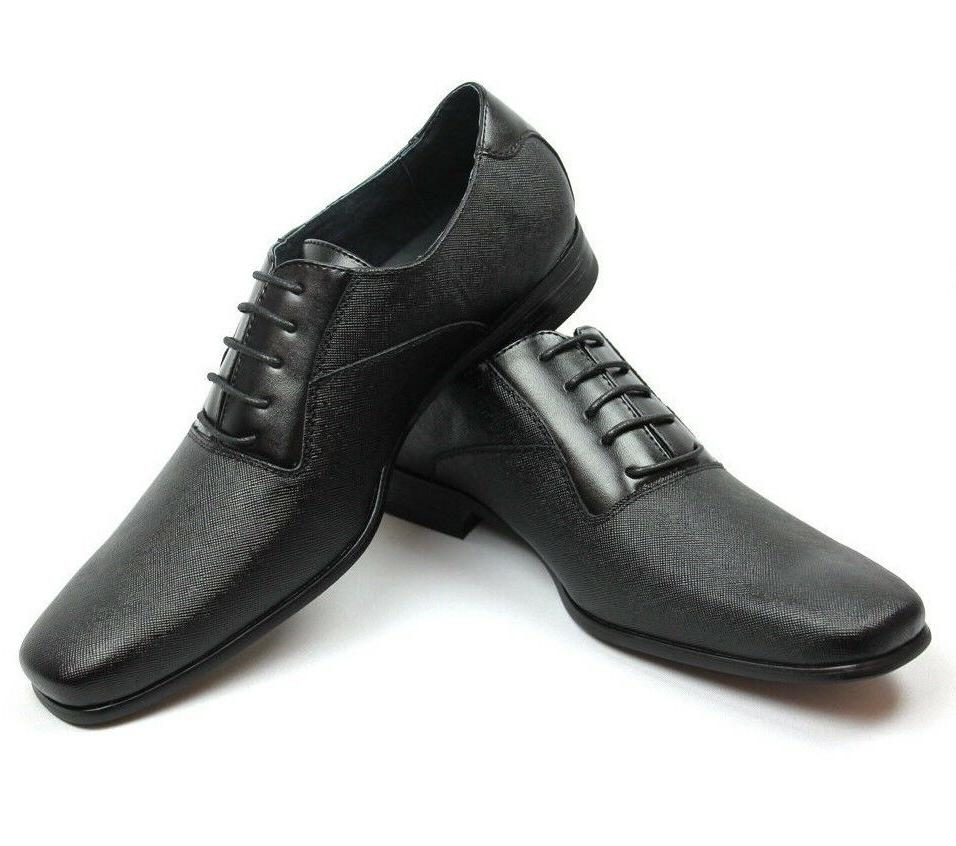 New Black Herringbone Dress Leather Snipe Toe NEW