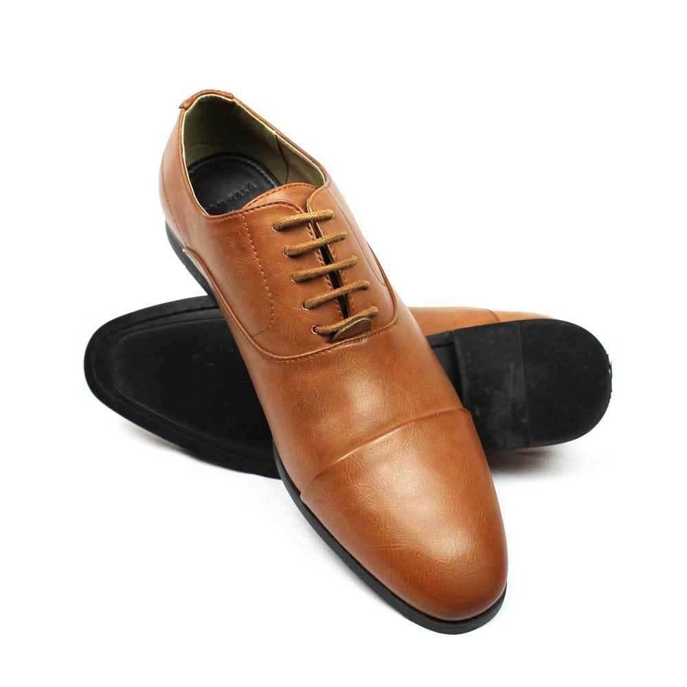 new mens brown cognac cap toe leather
