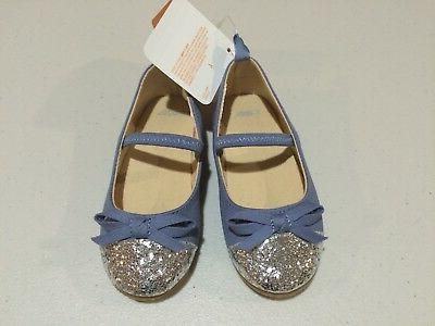 NWT Gymboree Eiffel Flowers Blue Flats Dress Shoes toddler G