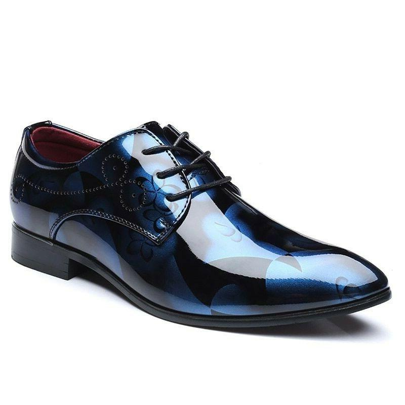 oxford leather shoes for men floral pointed