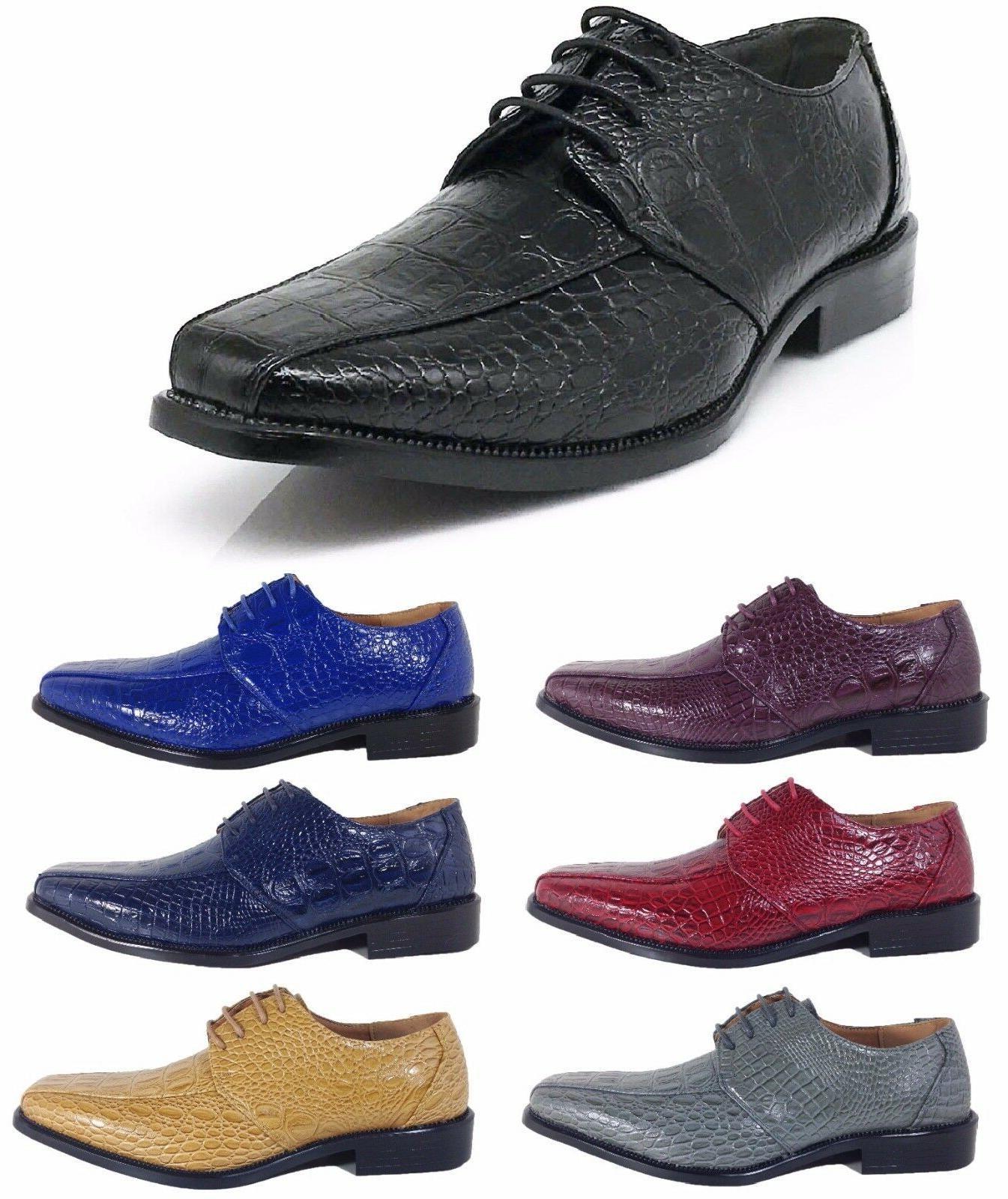 parrazo men dress shoes crocodile printing oxford