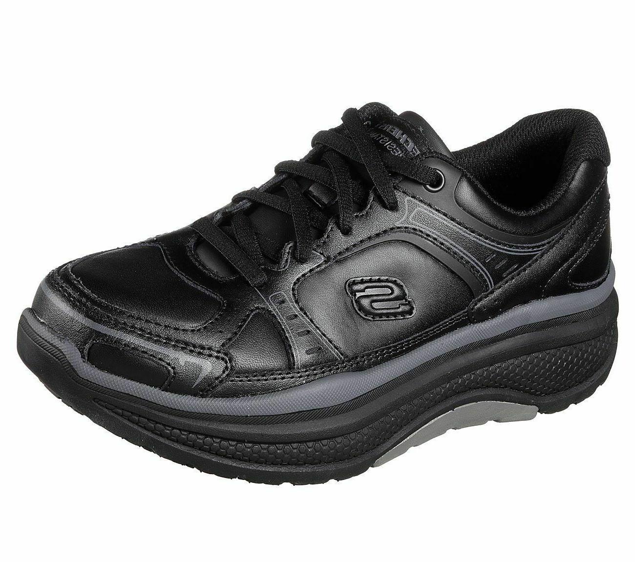 Rocker Skechers Work Black Shoes Women Memory Foam Slip Resi