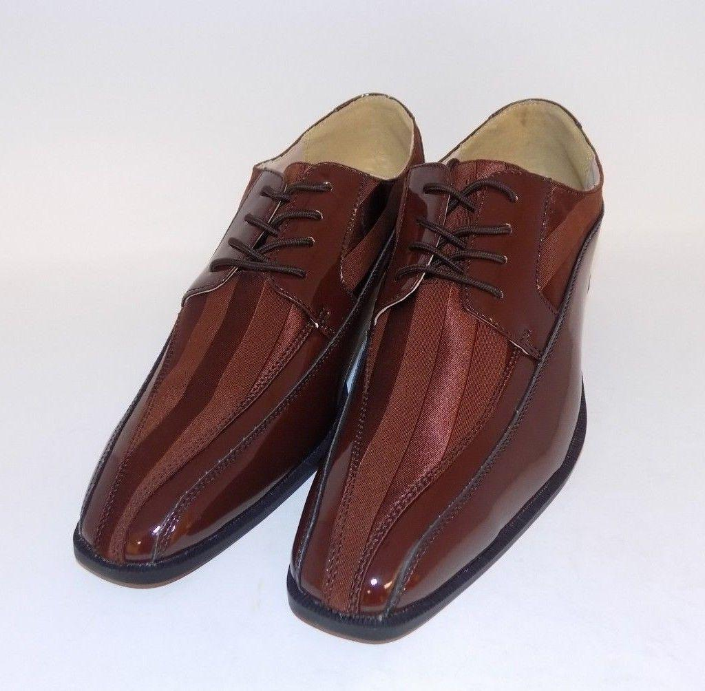 Stacy Adams Royalty Mens Brown Patent Lace Up Oxford Shoes S