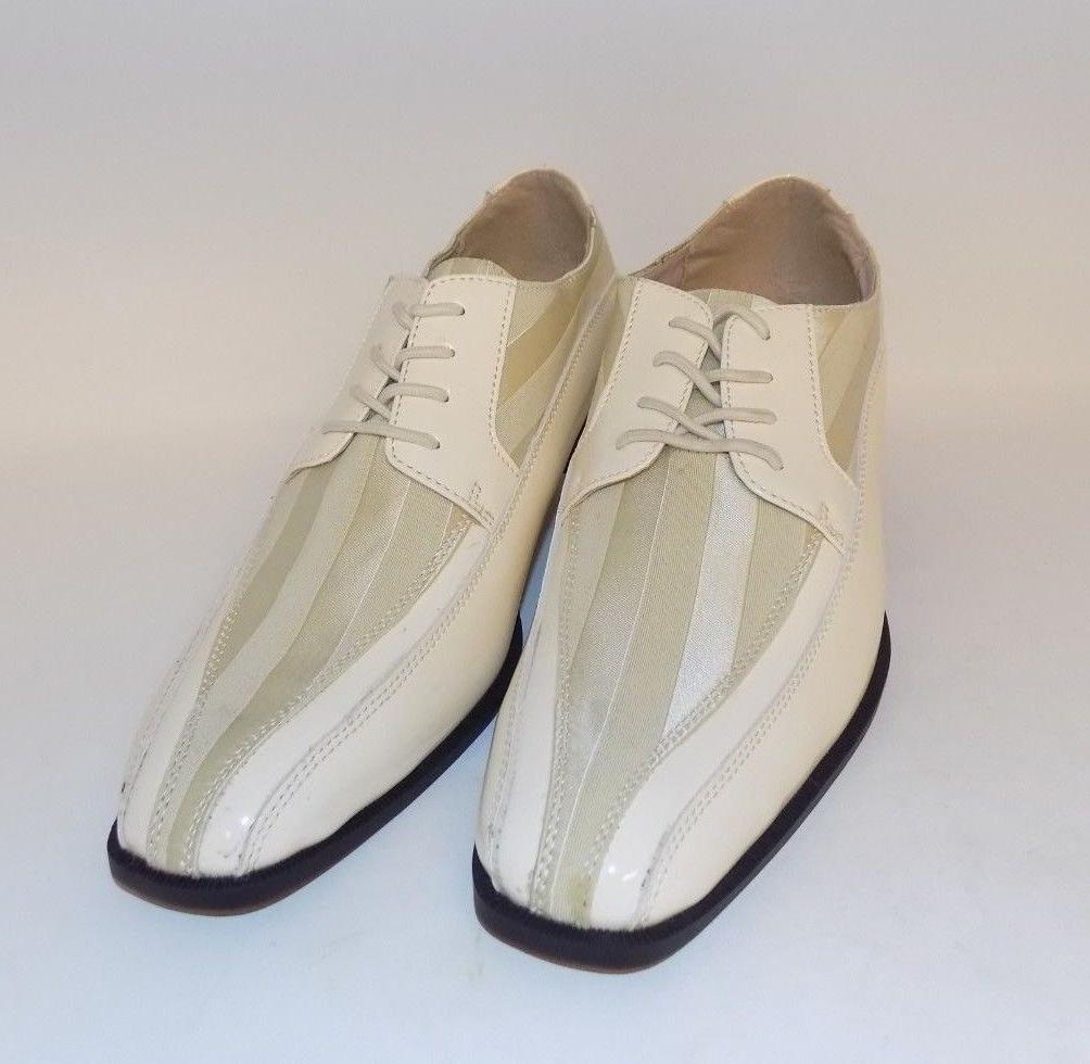 Stacy Adams Royalty Mens White Patent Lace Up Oxford Shoes S