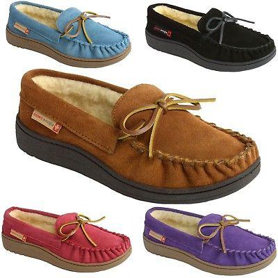 Alpine Swiss Sabine Womens Suede Shearling Moccasin Slippers