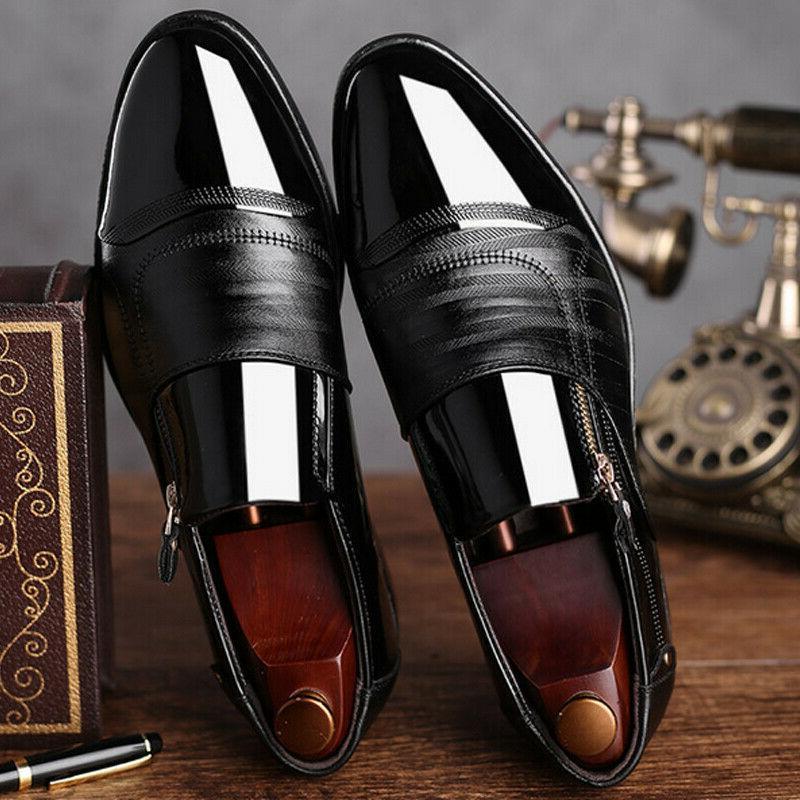 Slip Oxfords Dress Tuxedo Brogue Leather