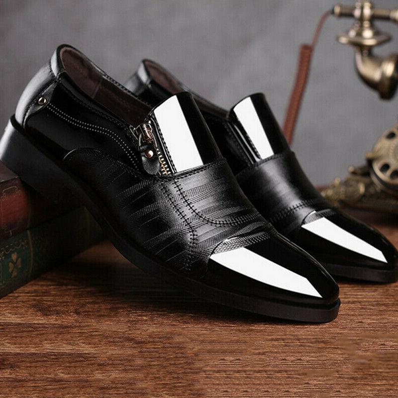 Slip Oxfords Dress Tuxedo Shoes Brogue Pointed Leather