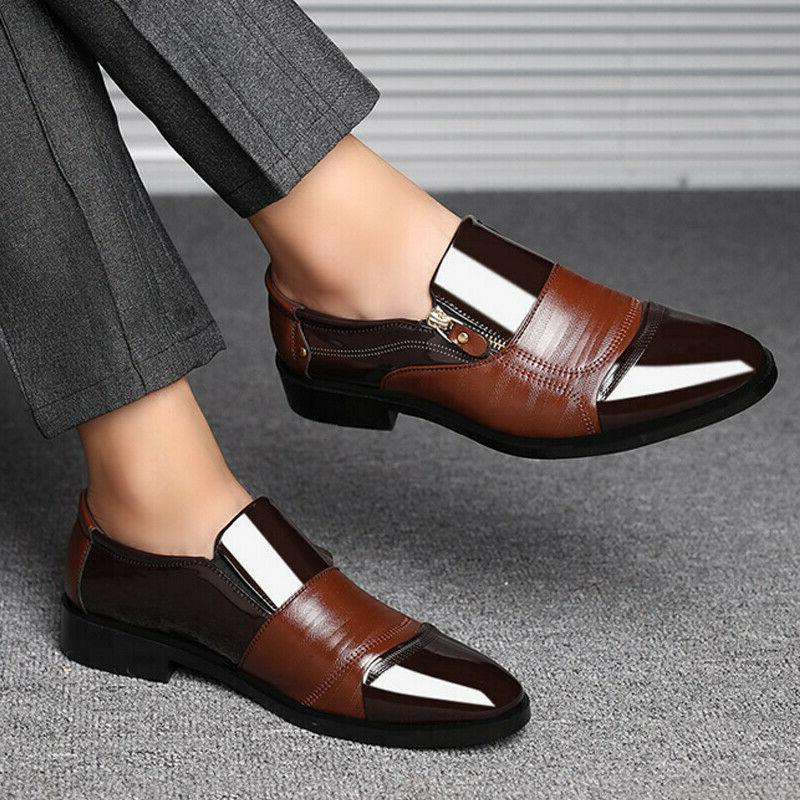 Slip On Oxfords Mens Dress Shoes Brogue Pointed Toe Leather