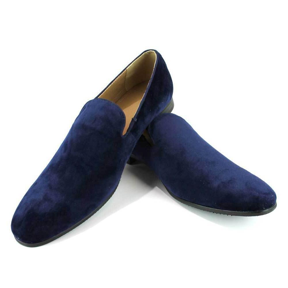 Blue Velvet Slip On Loafers Men's Dress Shoes Modern Formal