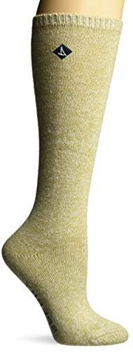 Sperry Top-Sider Women's Boyfriend Crew Socks, Oatmeal Marl,