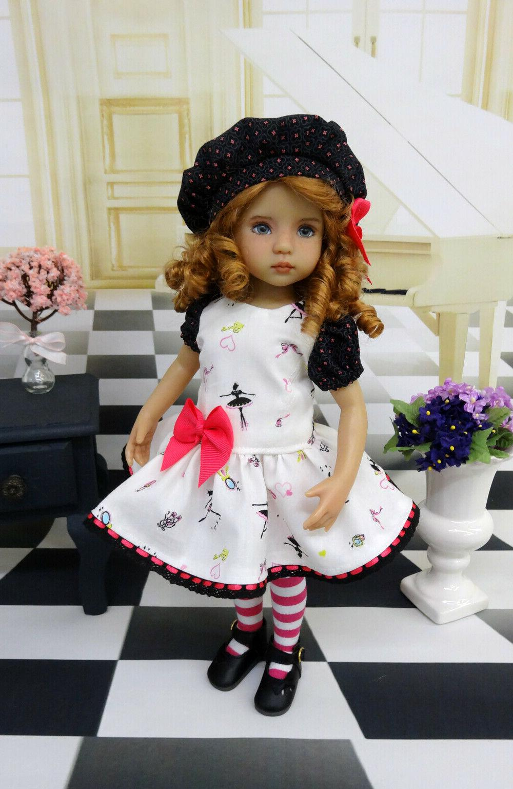 Tiny Dancer dress, hat, tights & shoes for Darling Doll BJD
