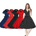 Women Vintage Dress 50S 60S Swing Pinup Retro Casual Housewi