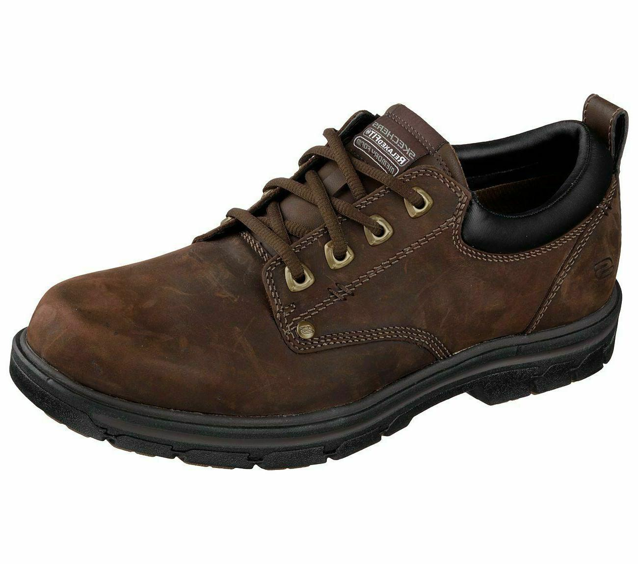 Wide Fit Brown Skechers Shoes Mens Memory Foam Leather Dress