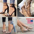 Women High Heel Strap Ankle Block Sandals Open Toe Party Dre