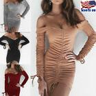 Women Long Sleeve V- Neck Bandage Bodycon Evening Cocktail P