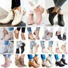 Women's Ankle Boots Low Mid Block Heel Booties Ladies Chunky