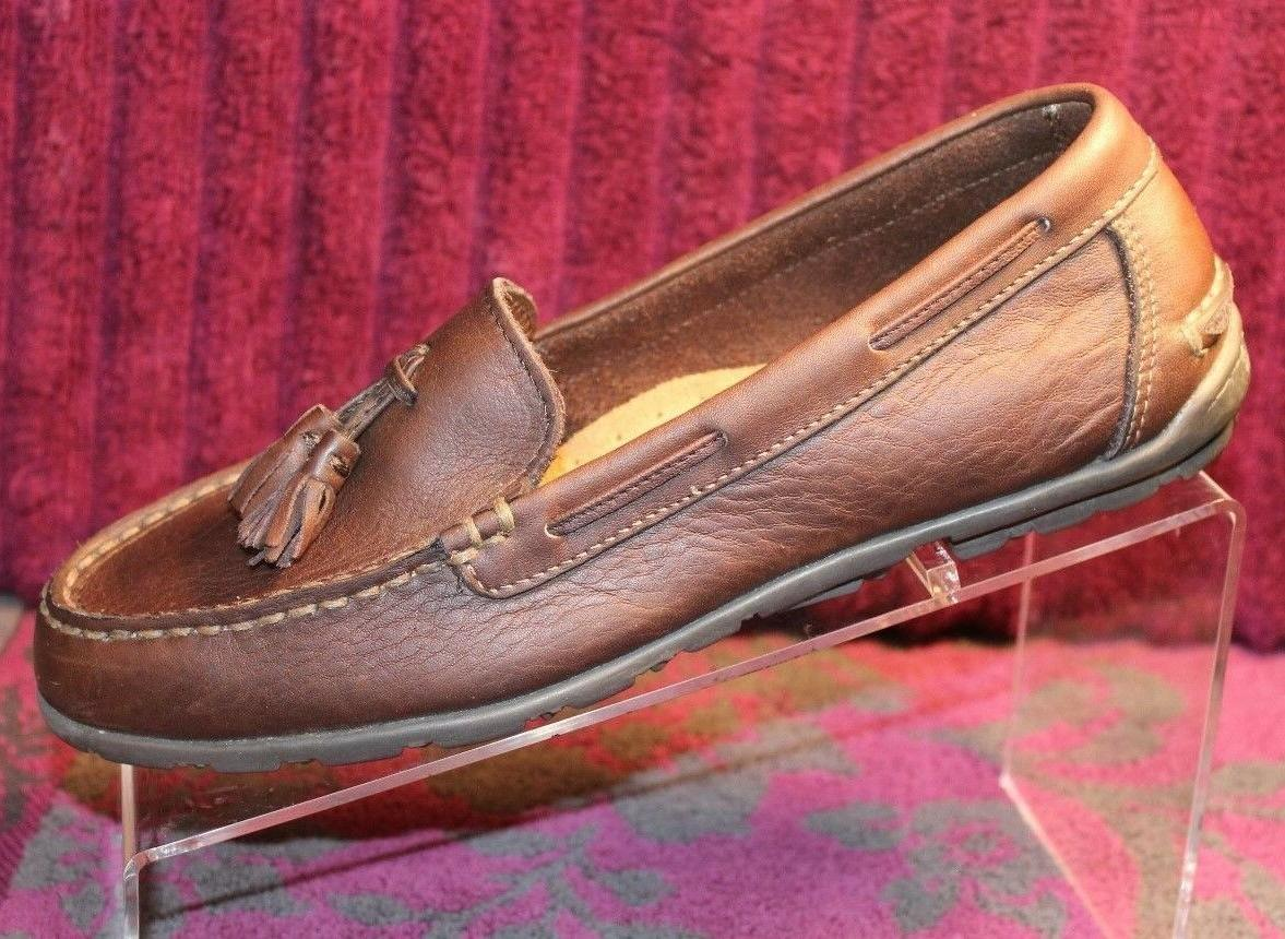 women s brown leather tassled dress loafers