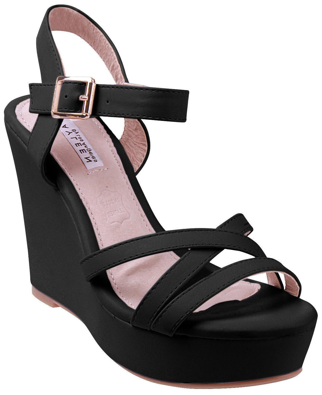 Enimay Women's Casual Open Toe Wedge Heel Dress Shoe With Ad