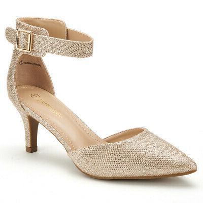DREAM Toe Low Heel Strap Dress Pump Shoes