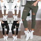 women skinny ripped holes jeans pants high